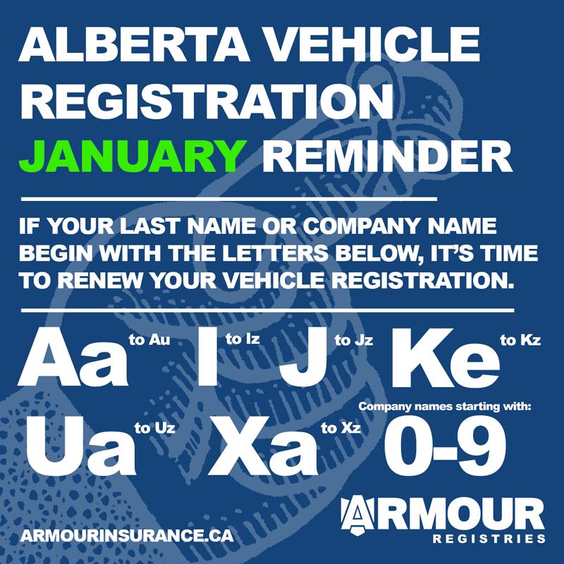 January vehicle registration renewals - Alberta