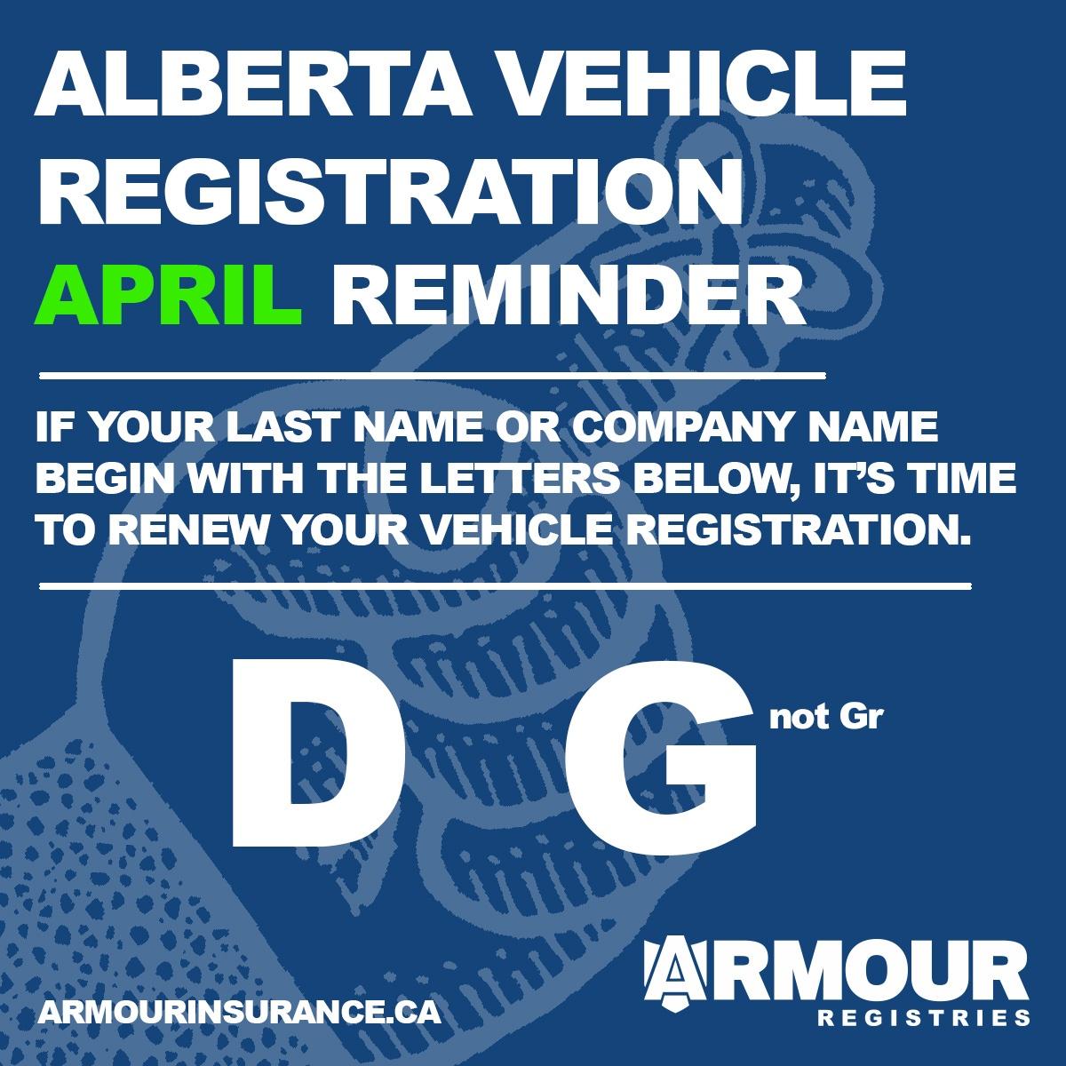 April Vehicle Registration Renewals
