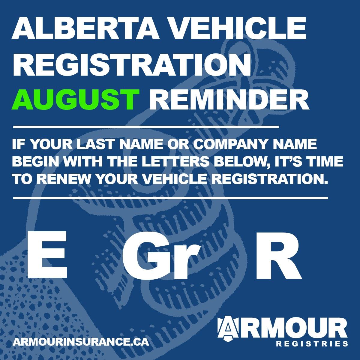 August Vehicle Registration Renewals