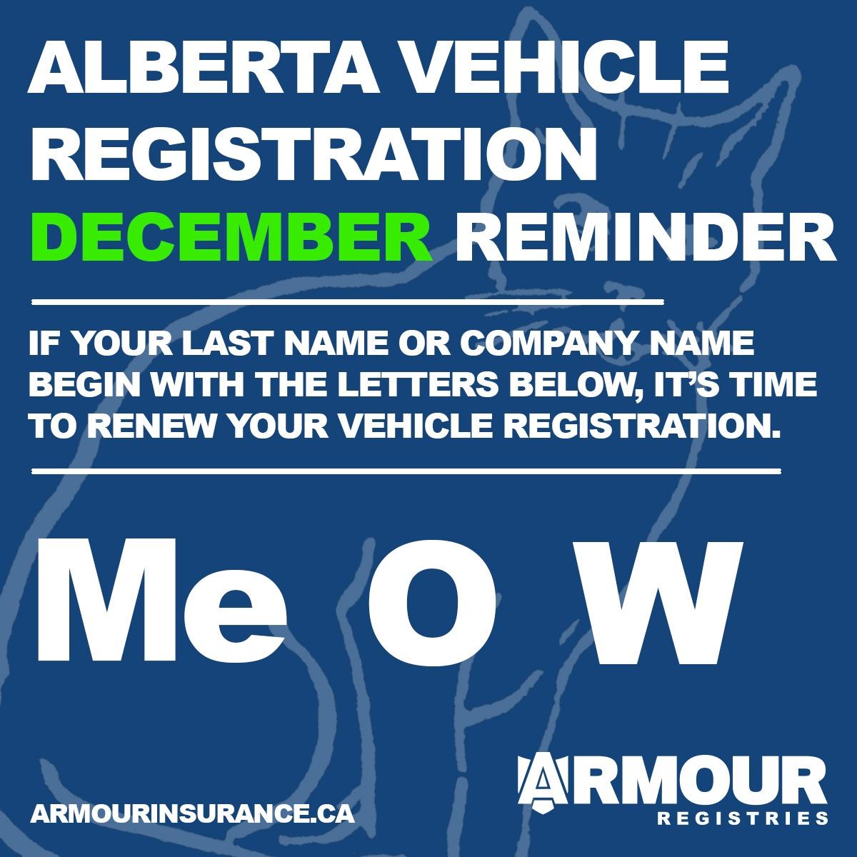 December Vehicle Registration Renewals