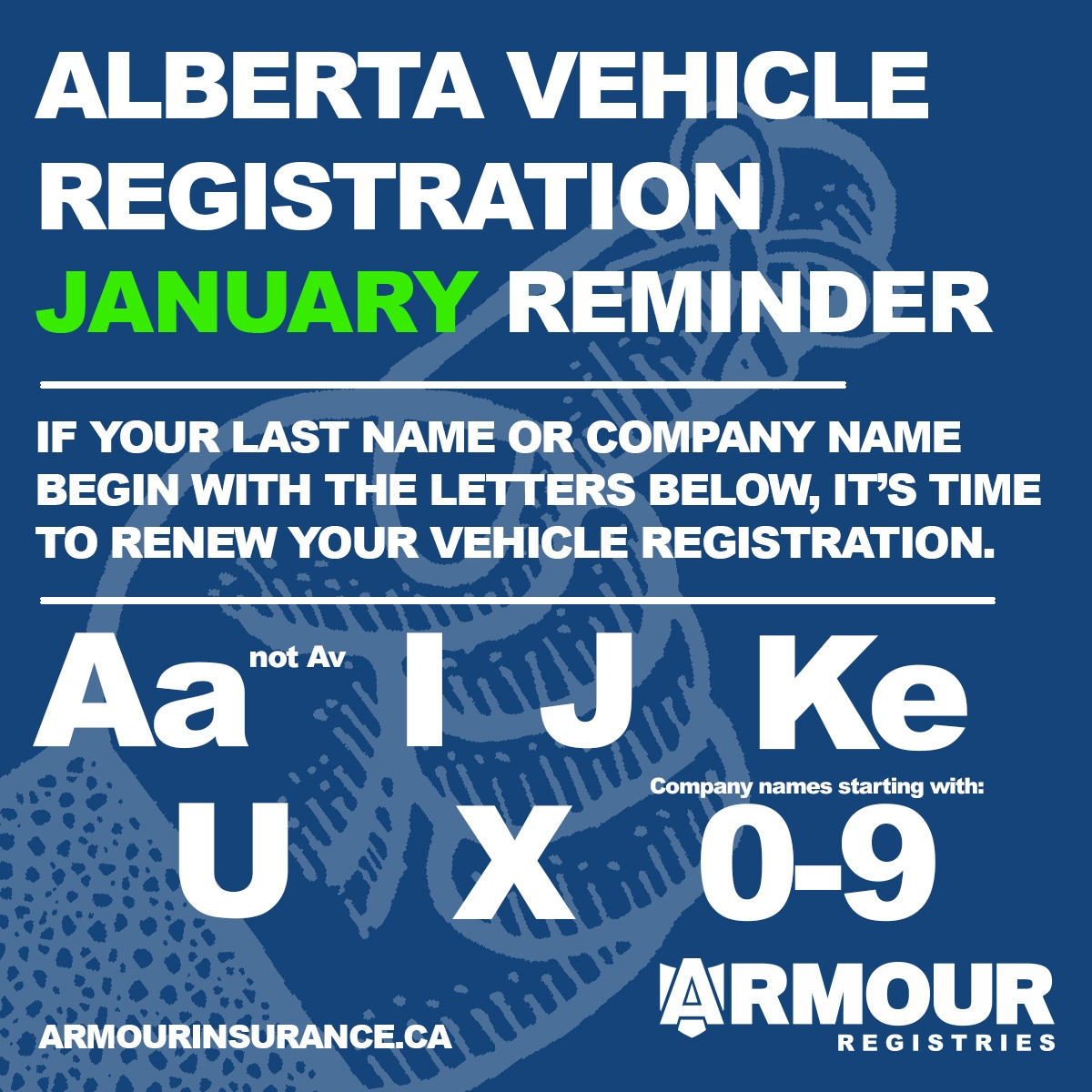 January Vehicle Registration Renewals