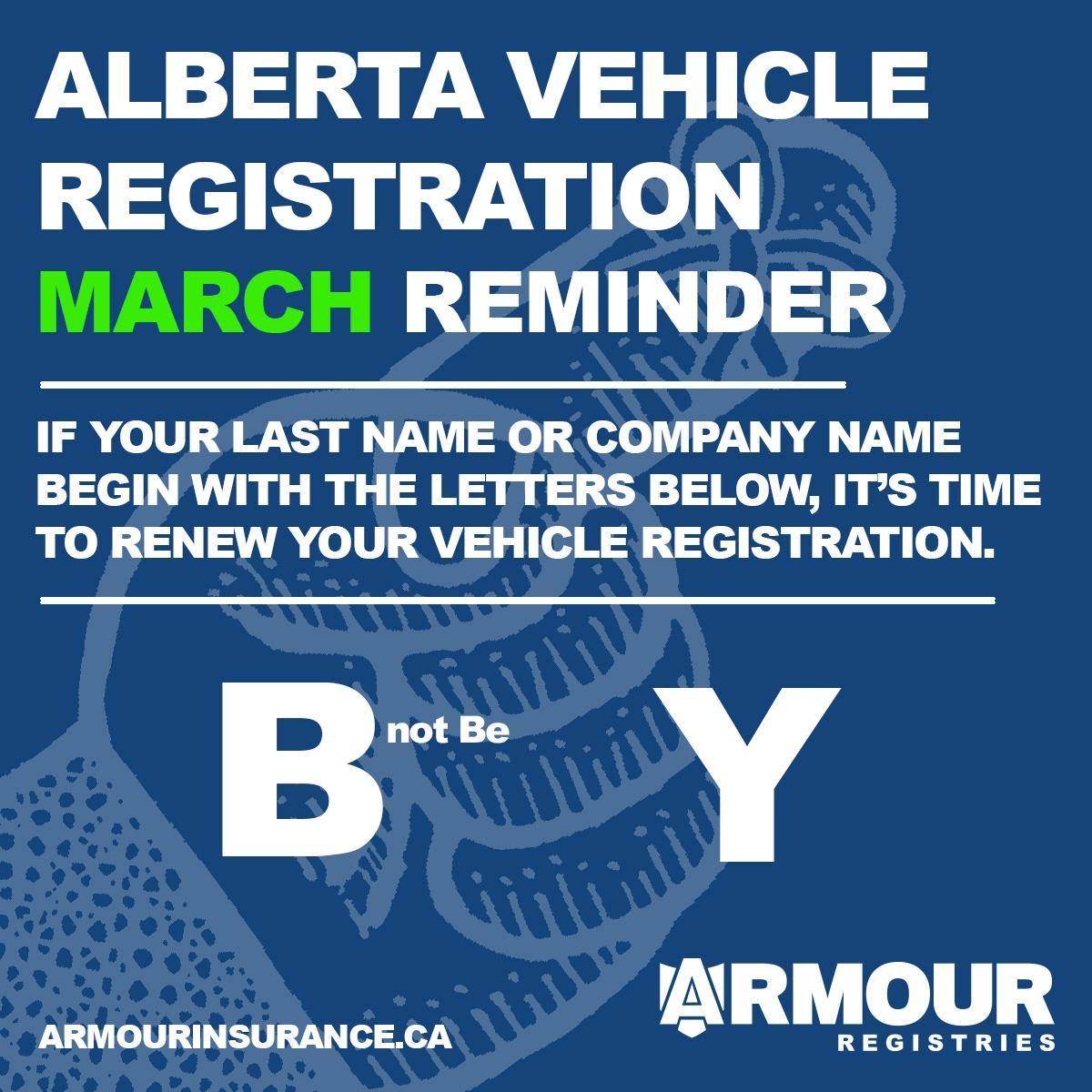 March Vehicle Registration Renewals