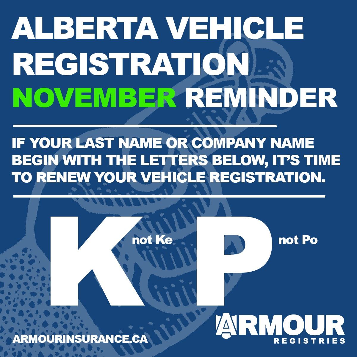 November Vehicle Registration Renewals