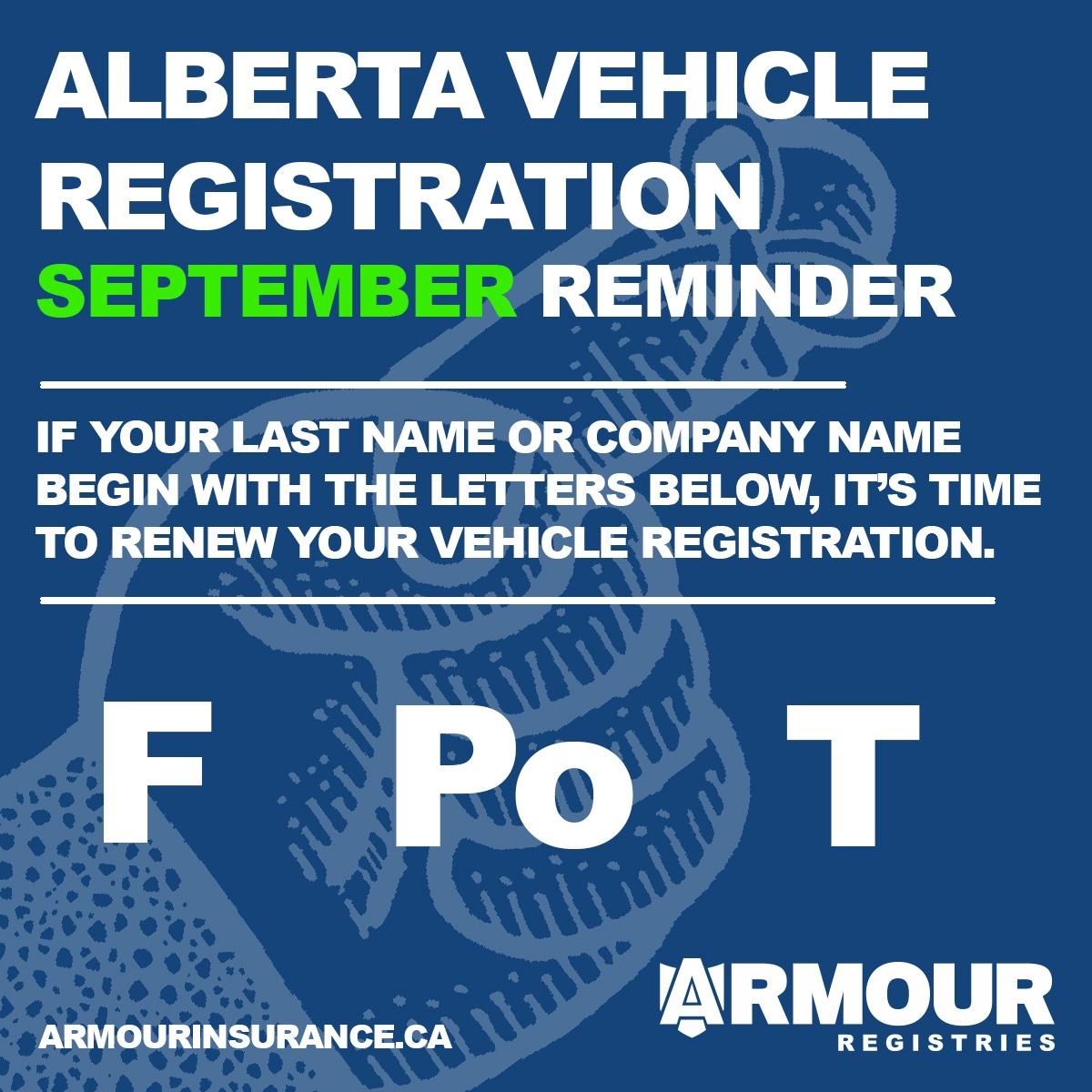 September Vehicle Registration Renewals